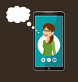 phone with open window a messenger social vector image