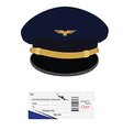 Pilot cap and airplane ticket vector image vector image