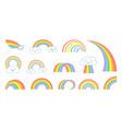 rainbows cartoon flat rainbow icons funny symbol vector image