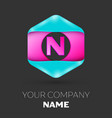 realistic letter n logo in colorful hexagonal vector image vector image