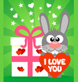 romantic card with funny rabbit vector image vector image