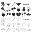 romantic relationship black icons in set vector image