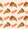 seamless pattern with pizza design element vector image vector image