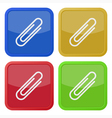 set of four square icons with paper clip vector image vector image