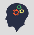 silhouette head with gears human head working vector image vector image