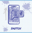 sketch line mobile phone and shopping basket icon vector image vector image