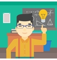 Student pointing at light bulb vector image vector image