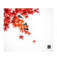 Three little birds on red leaves japanese maple