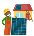 young african constructor installing solar panel vector image vector image