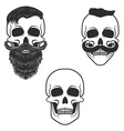 Set of skulls with mustache and beard vector image