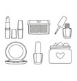 6 black and white line art make up elements vector image vector image