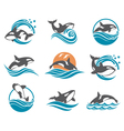 Abstract whale icons set vector image