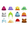 bacolorful hats caps sunhat set kids vector image vector image