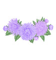 beautiful bouquet with purple asters and leaves