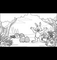 black and white coloring page easter rabbit vector image