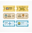 Bus Train Airplane Tickets Flat Icon vector image vector image