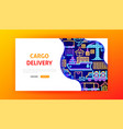 cargo delivery neon landing page vector image