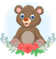 cartoon babear sitting with flowers background vector image vector image