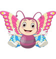 cartoon babutterfly sitting and waving vector image vector image