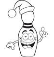 Cartoon bowling pin wearing a Santa hat vector image vector image