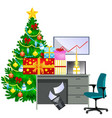 cartoon image of office desk and christmas tree vector image vector image