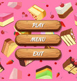 cartoon style wooden buttons with text for vector image