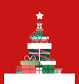 christmas tree concept made retro gifts vector image