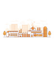 city factory - modern thin line design style vector image vector image