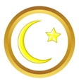 Crescent and star cartoon icon vector image vector image