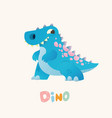 cute blue cartoon baby dino bright colorful vector image vector image