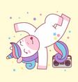 cute unicorn break dance hip hop tape vector image vector image