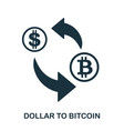 dollar to bitcoin icon mobile app printing web vector image vector image