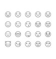 emotions flat line icons set happy face sad