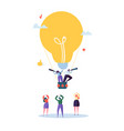 flat business people flying on big light bulb vector image
