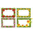 frame template with colorful flowers vector image vector image