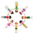 Group of friends boys and girls lying in circle vector image