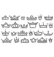 hand drawn crown luxury crowns sketch queen or vector image
