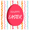 happy easter decorated red flat egg with simple vector image vector image