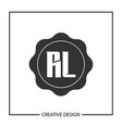 initial letter rl logo template design vector image