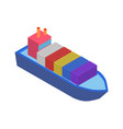 isometric cargo ship with container flat design vector image vector image