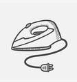 modern electric iron hand drawn sketch icon vector image