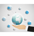 Network globe on the hand vector image vector image