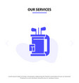 our services bag club equipment golf stick solid vector image vector image