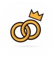 pair wedding rings logo vector image