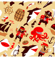 pirates and sharks and nautical objects vector image vector image