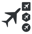 Plane icon set monochrome vector image vector image