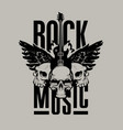 poster for rock music with guitar wings and skull vector image