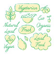 set eco food lettering and symbols in sketch vector image vector image
