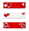 Set of card headers or banners with hearts vector image vector image