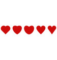 set red shape heart icons vector image